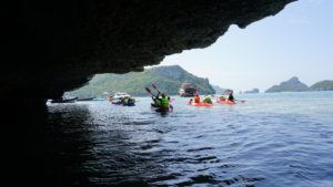 Kayaking Angthong, in and out of caves.