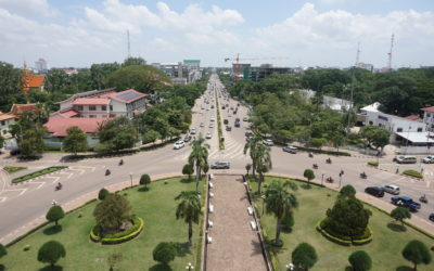 Active and Busy Walking the Streets of Vientiane in Laos